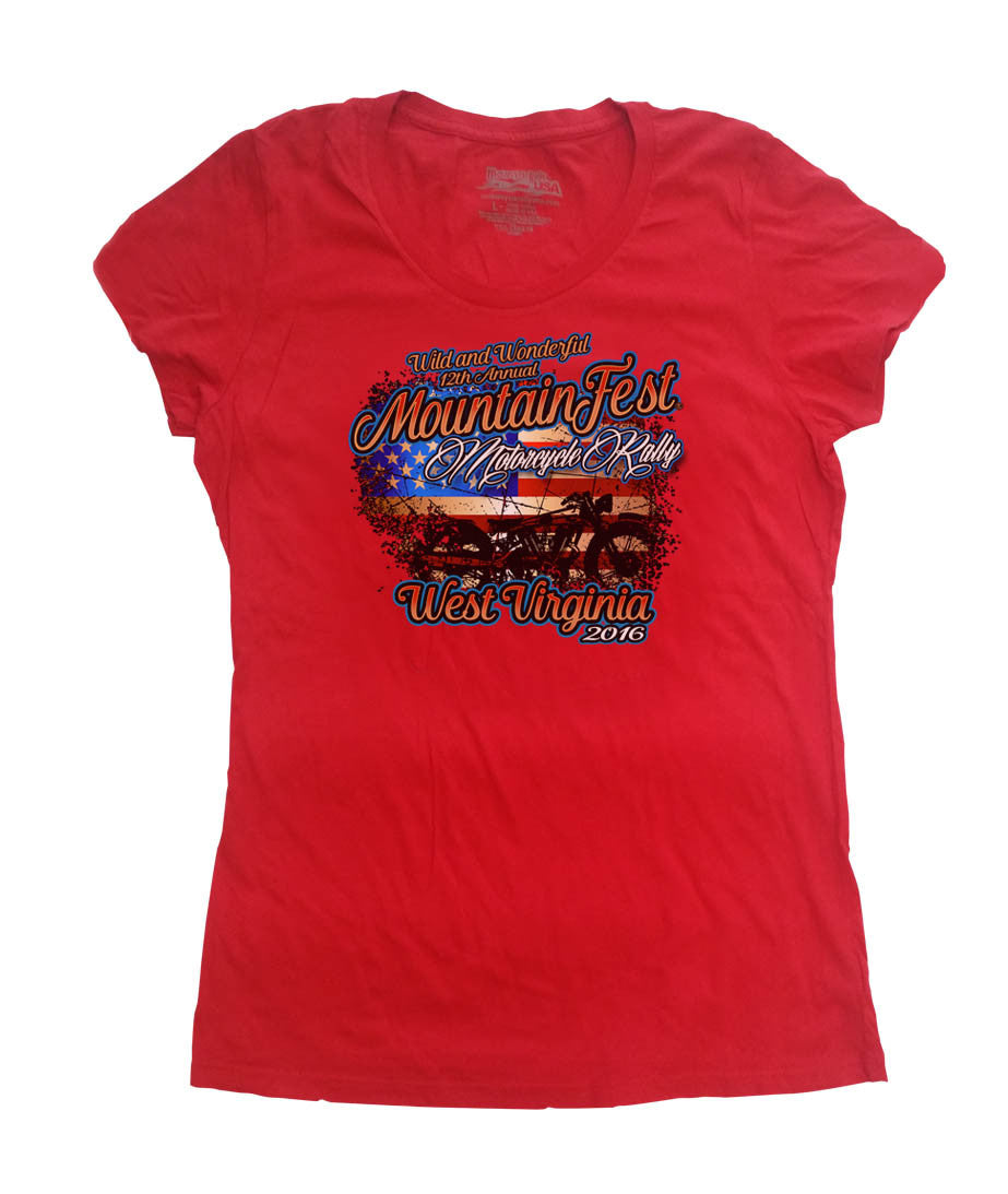 2016 MountainFest American Flag Red O-Neck Ladies Top