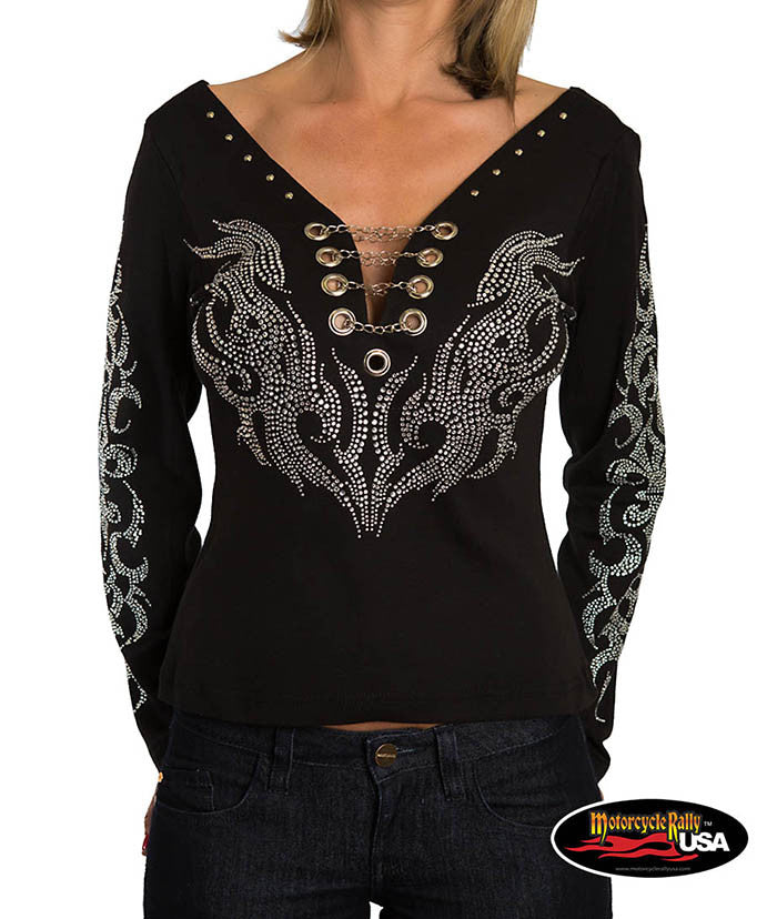 Trivals Long Sleeves Top with Chains