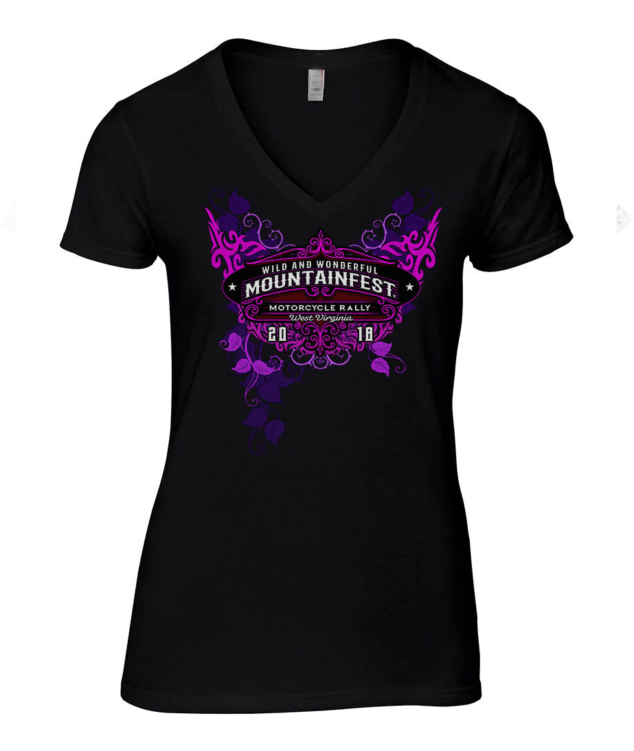 2018 MountainFest Trivals Ladies black V-neck Top