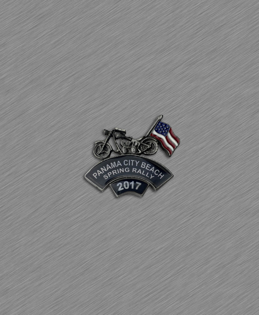 2017 Spring Thunder Beach Motorcycle with USA Flag Pin