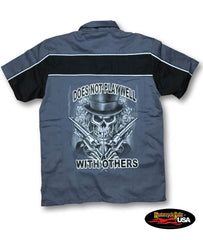 """Doesn't Play Well with Others"" Skull Two Tone Work Shirt with Reflector Stripes - Black/Charcoal"