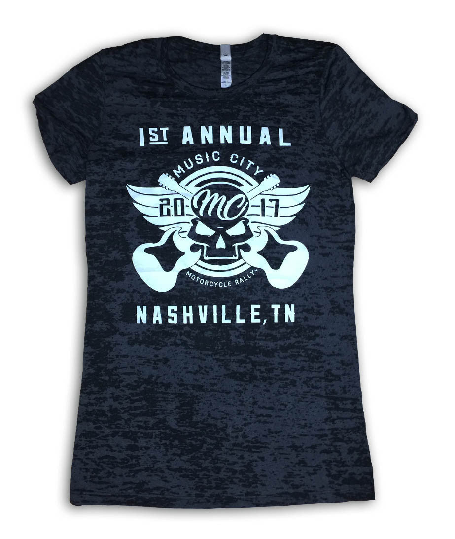 2017 Music City Motorcycle Rally #1 Design Black Burnout Top