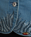 Cross Wings Denim Vest with Collar and Bottom Edge Decorations