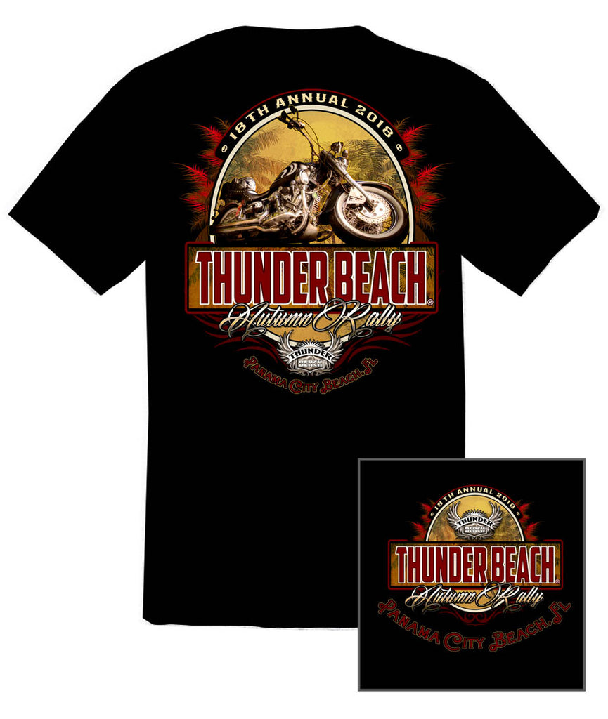 2018 Autumn Thunder Beach Tropical Bike Black T-shirt