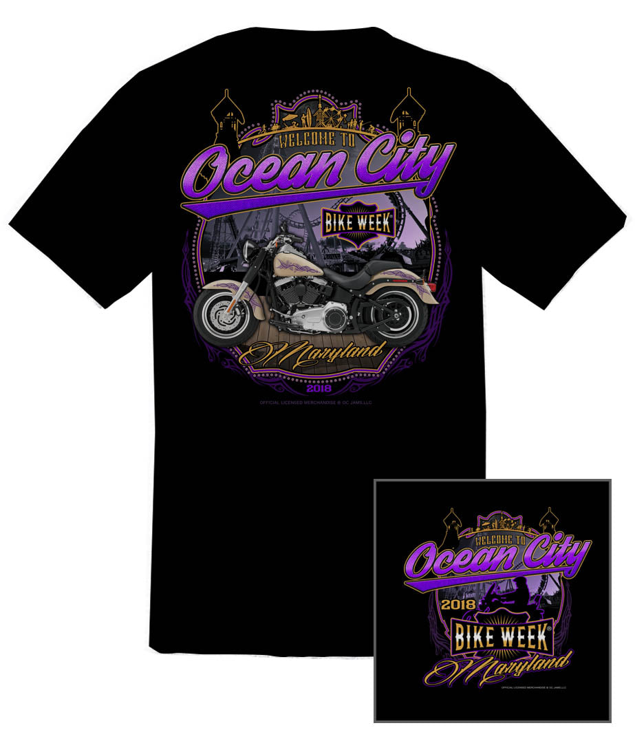 2018 OC Bike Week Boardwalk Black T-Shirt