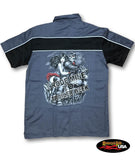 """I Rode Mine to Trailer Week"" Skull Two Tone Work Shirt with Reflector Stripes - Black/Charcoal"
