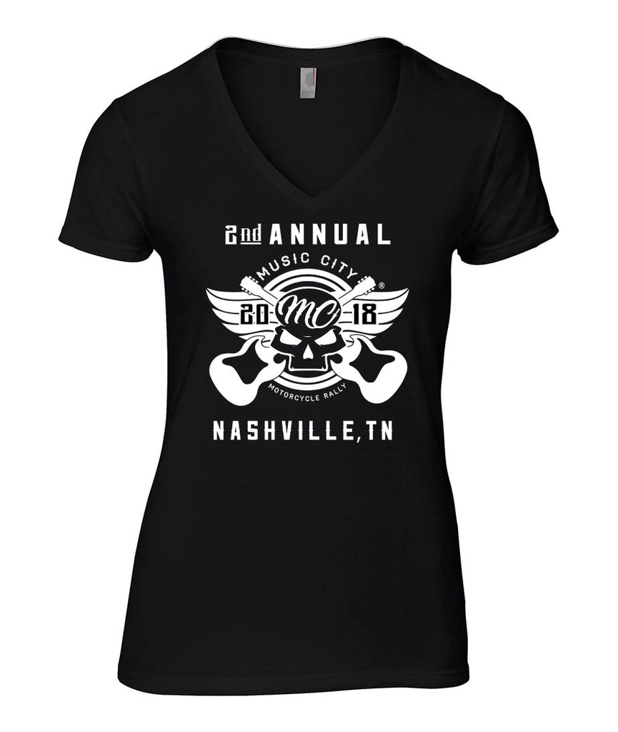 2018 Music City #1 Design Black V-Neck Ladies Top