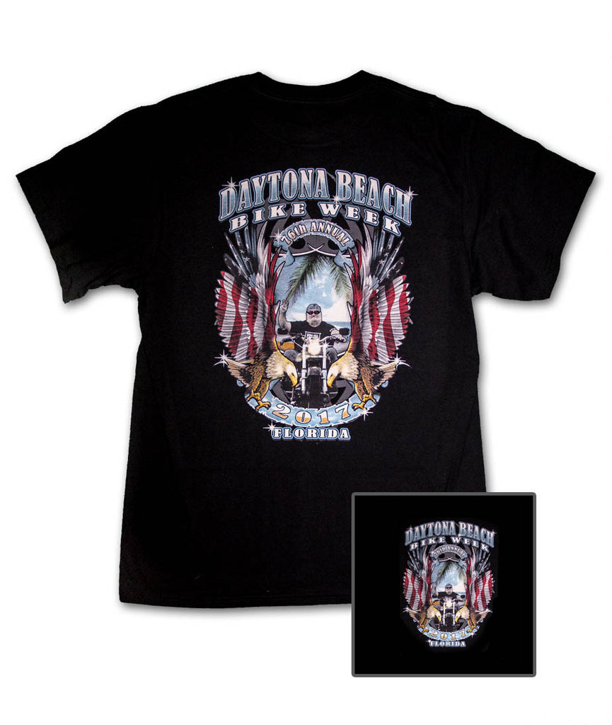 2017 Daytona Bike Week Rider & American Flag Eagles Black T-Shirt