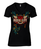 2018 Music City Rose and Wings V-Neck Ladies Top