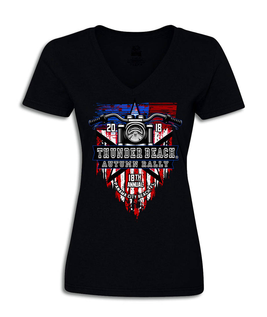 2018 Autumn Thunder Beach American Flag Black V-Neck Ladies Top