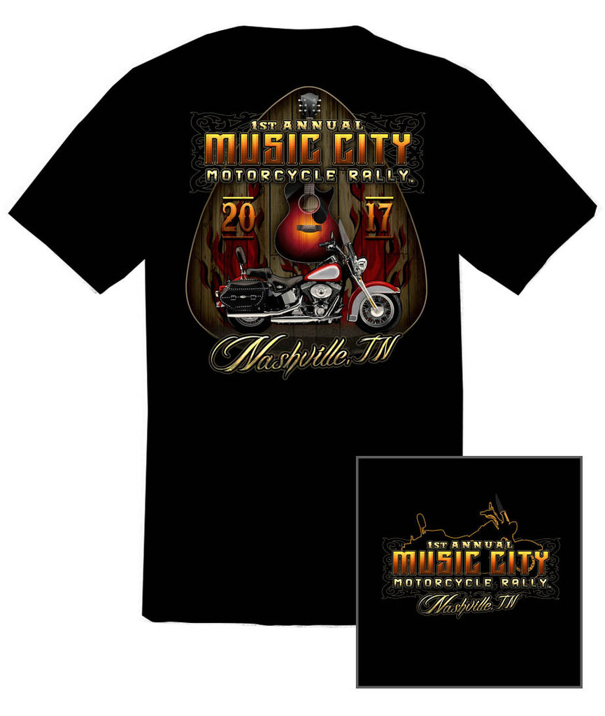 2017 Music City Motorcycle Rally Guitar Pick Black T-Shirt