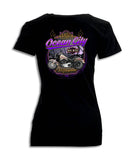 2018 OC Bike Week Boardwalk Black V-Neck Ladies Top