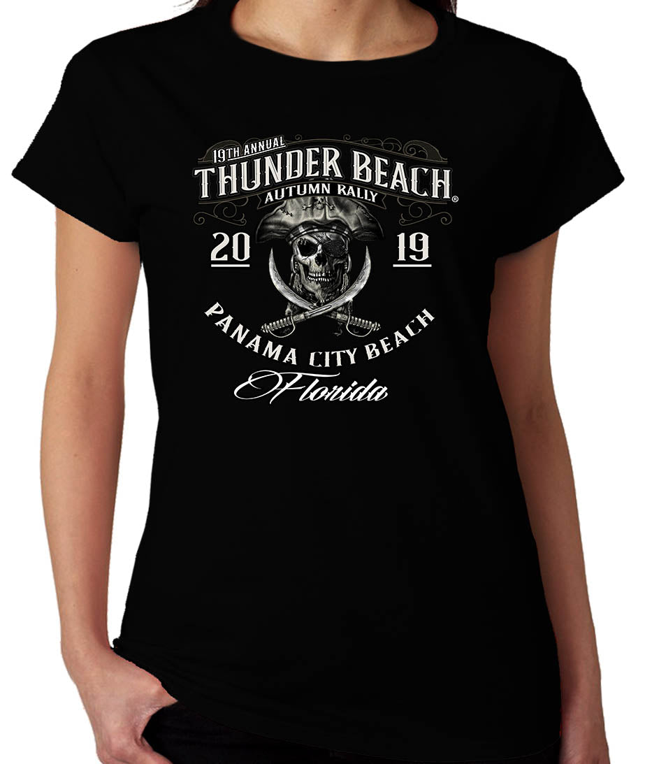 2019 Thunder Beach Autumn #1 Design Black Ladies Top