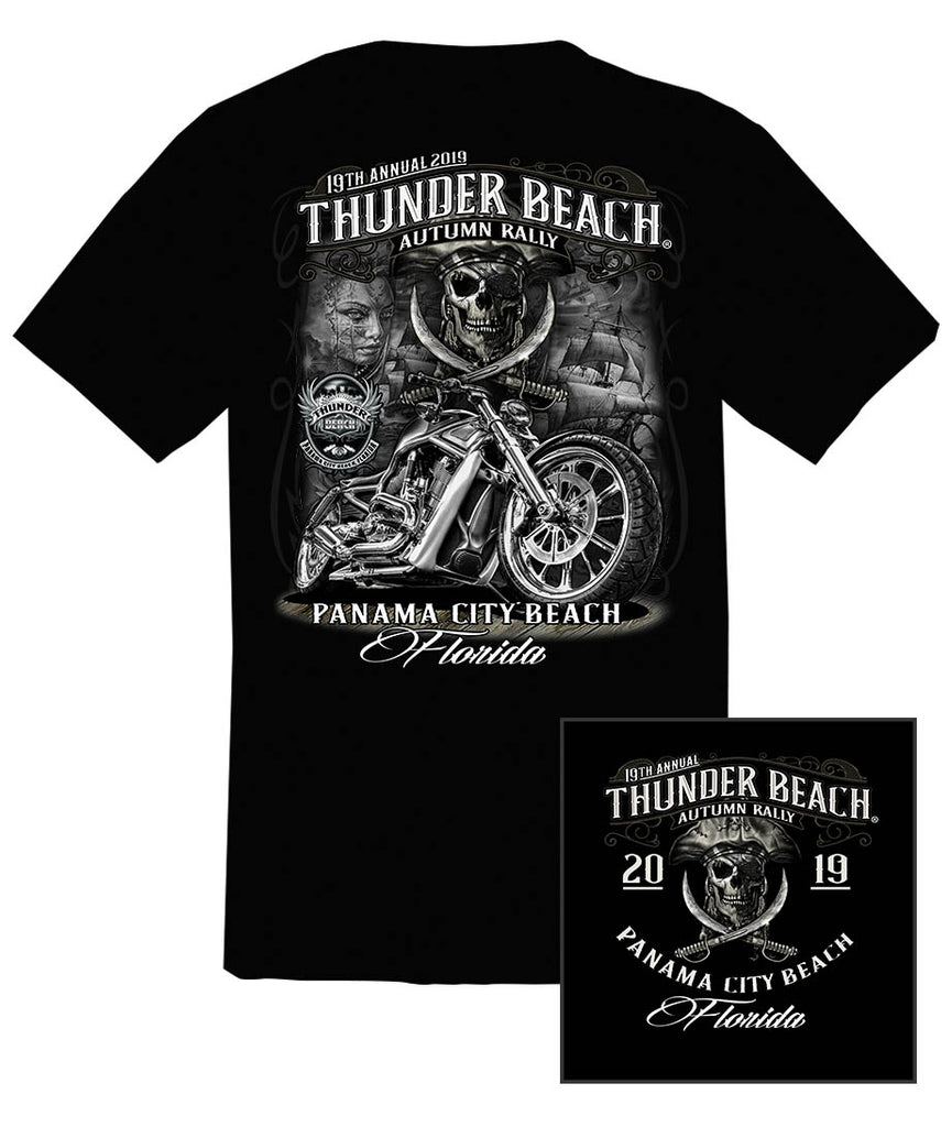 2019 Thunder Beach Autumn #1 Design Black T-shirt
