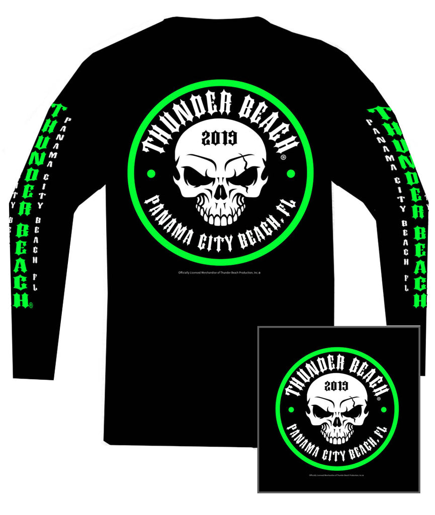 2019 Spring Thunder Beach Neon Skull Long Sleeve Black T-Shirt