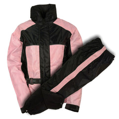 Ladies Black & Pink Rain Suit Water Proof w/ Reflective Piping