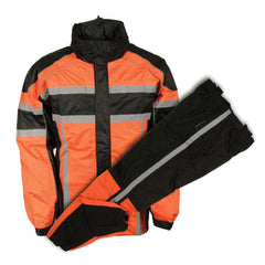 Men's Black & Orange Rain Suit Water Resistant with Reflective Tape