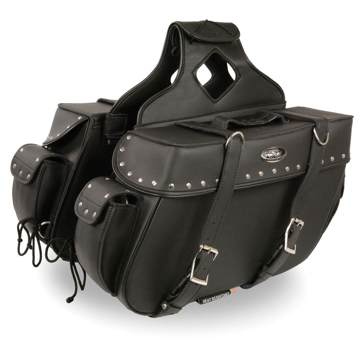 Large Zip-off PVC Throw over Riveted Saddle Bag