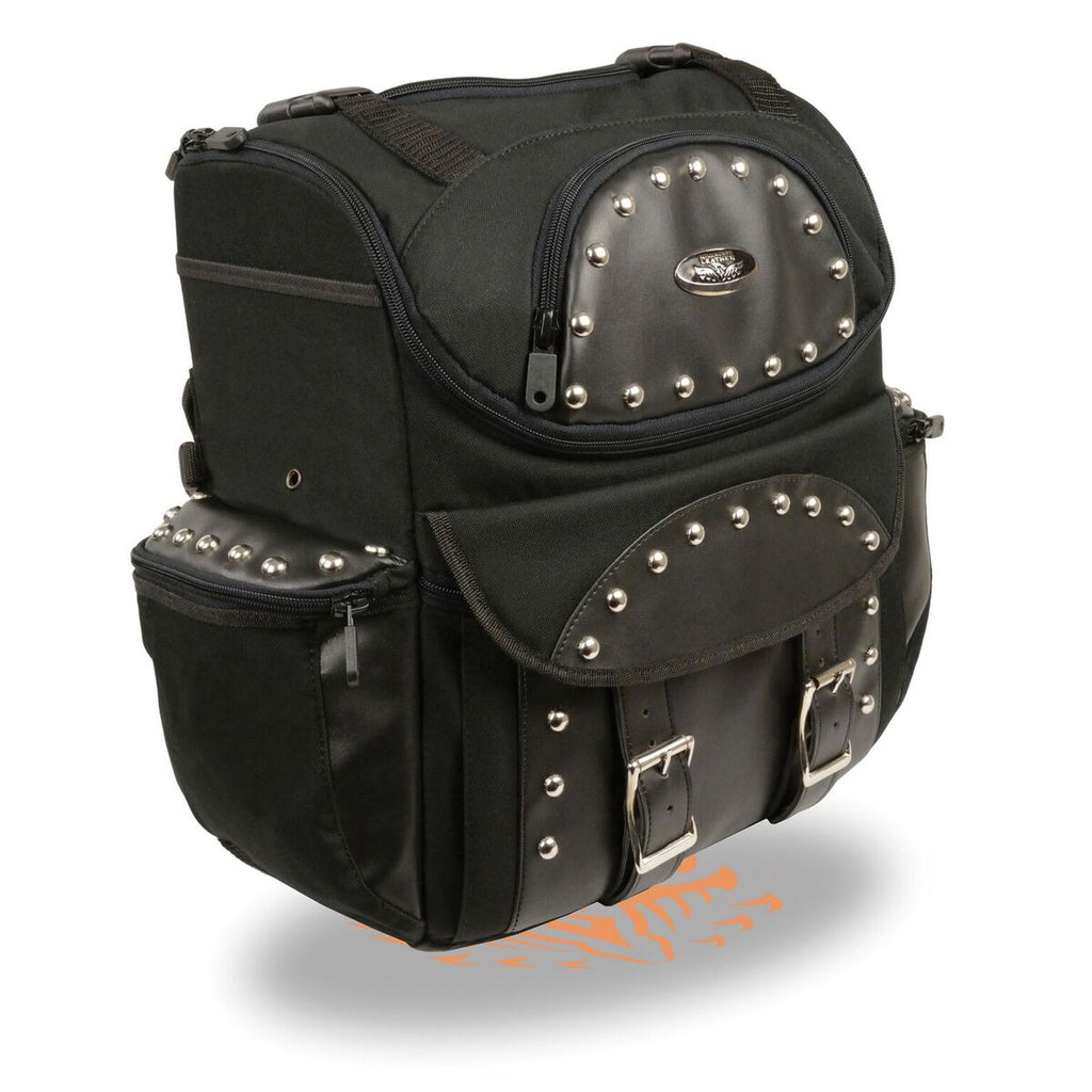 Medium Textile Two Piece Studded Touring Sissy Bar Bag