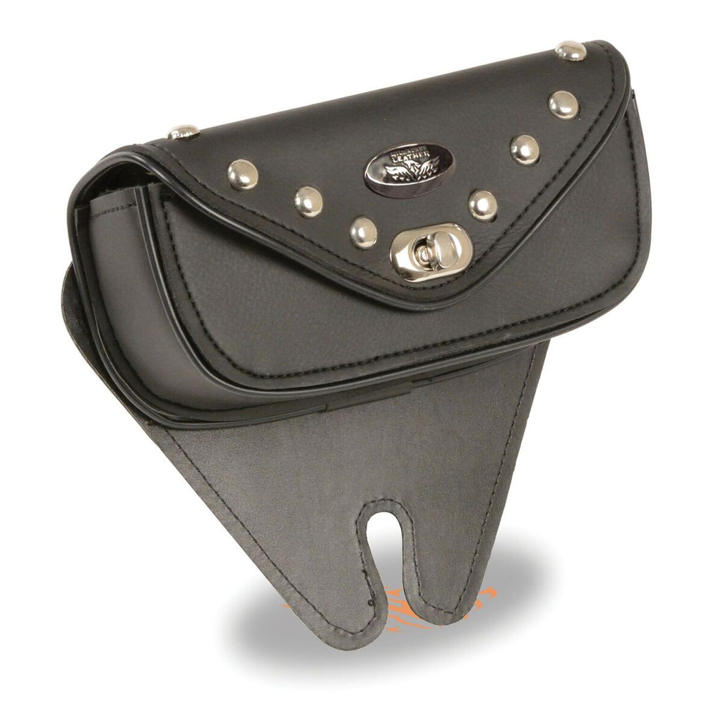 Small Single Pocket Studded Windshield Mount Bag with Turn Clasp