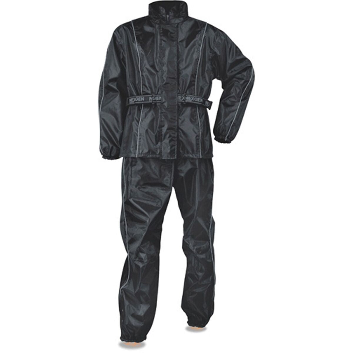 Men's Black Rain Suit Oxford Nylon Lightweight & Water Resistant