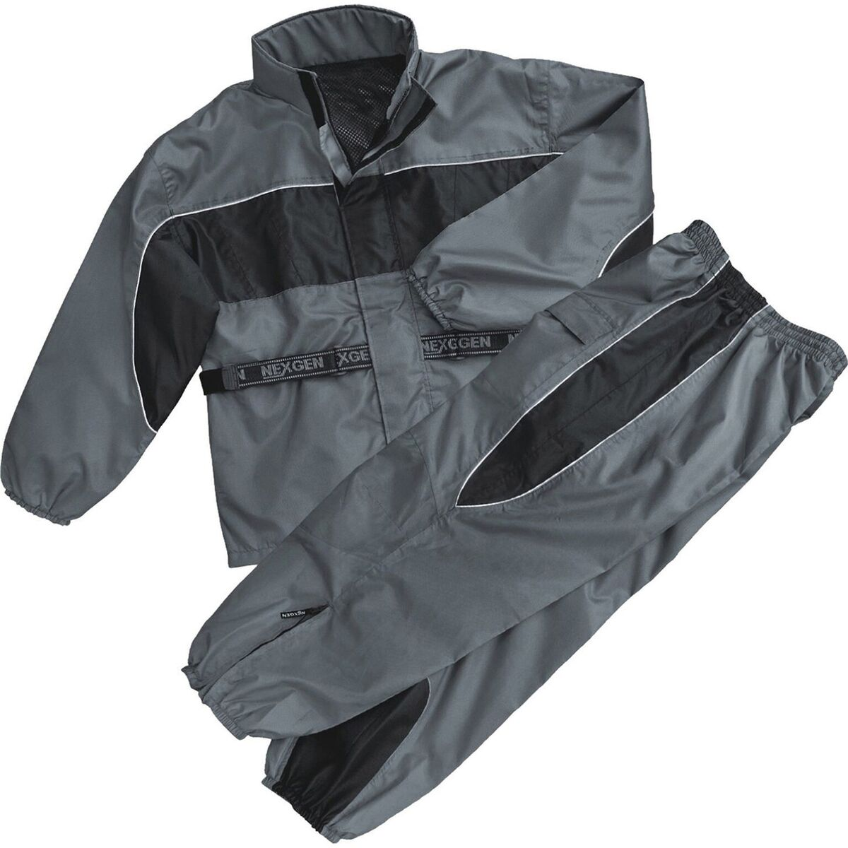 Men's Black & Grey Rain Suit Water Resistant with Reflective Piping
