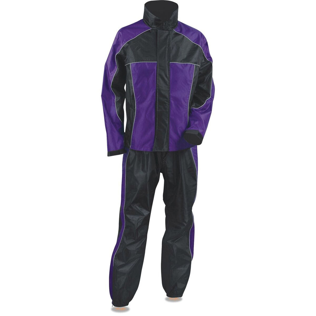 Ladies Purple & Black Rain Suit Water Proof w/ Reflective Piping