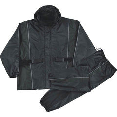 Ladies Black Waterproof Rain Suit w/ Reflective Piping & Heat Guard