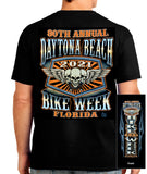 2021 Daytona Bike Week Orange Skulls  Black T-shirt