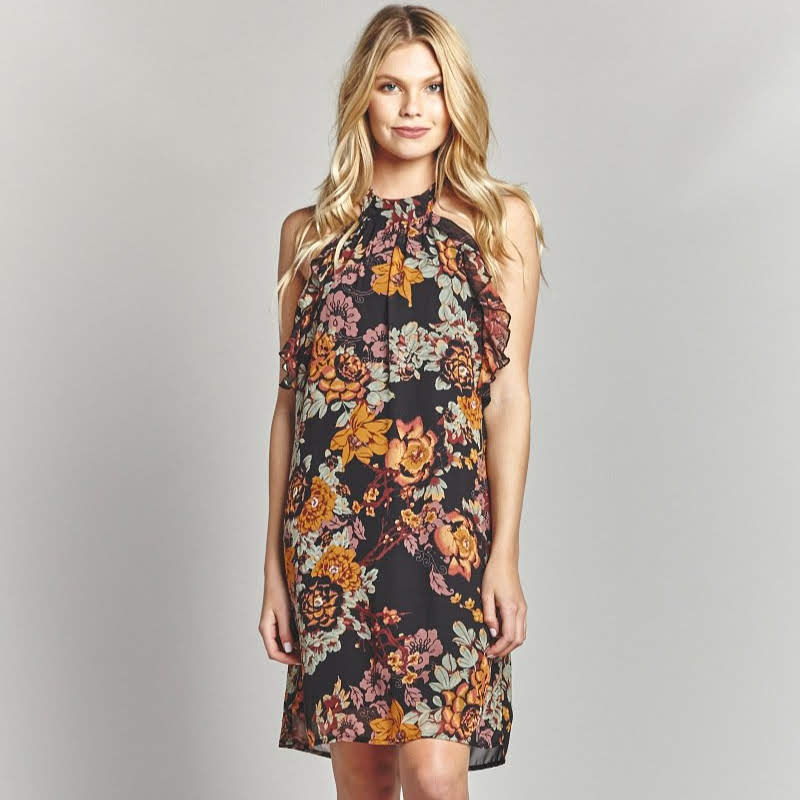 Fall Floral Halter Dress