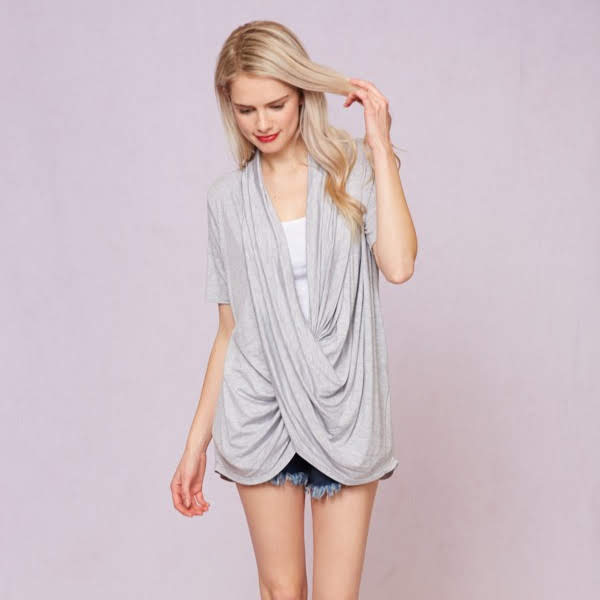 Grey Drape Tee from Vine & Love Charm Boutique in Gulf Shores, Al