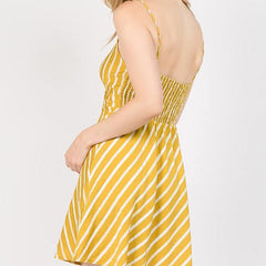 Mustard Stripe Dress from Lunik at Charm Boutique in Gulf Shores