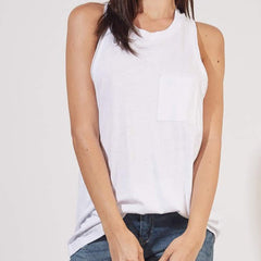 White Over-sized Racer Back Tank