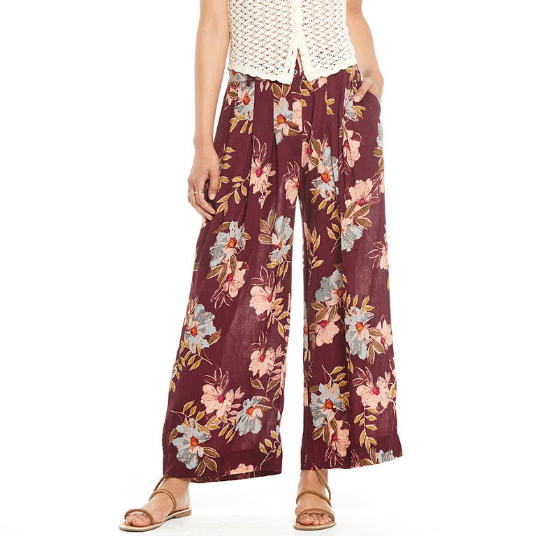Maroon Floral Pant from Patrons of Peace at Charm Boutique in Gulf Shores