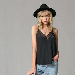 Sweet Lace Trim Black Cami