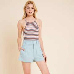 Sea Foam Pleated High Waist Short