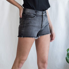 Black Raw Hem Cut Offs