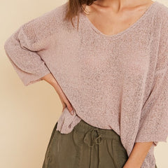 Mauve Open Knit Sweater