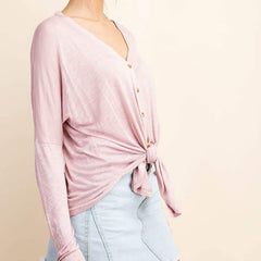 Mauve Relaxed Button Down Top