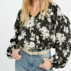 Black Floral Print Blouse
