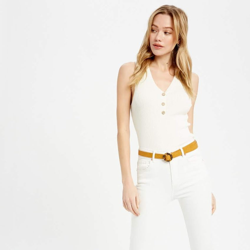 Ivory Ribbed Button Down Tank