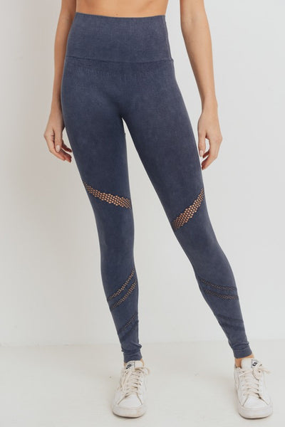 Grey Angled Perforated Legging