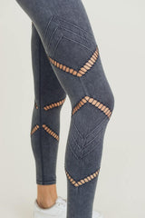 Black Zig Zag Mineral Wash Legging