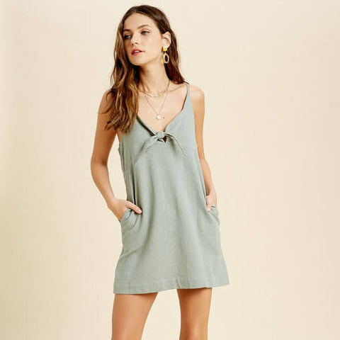 Sage Tie Mini Dress