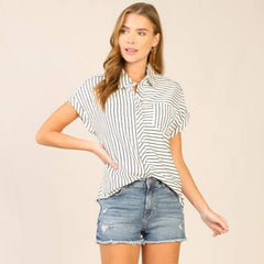 All Over Stripe Button Down