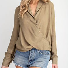 Olive Asymmetrical Button Down Top