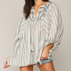 Embroidered Gauze Tunic