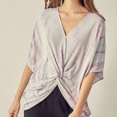 Silver & Pink Tie Dye Knotted Top