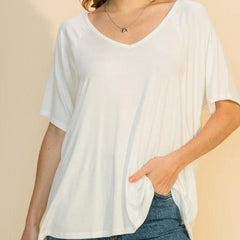 White Soft V-Neck Tee