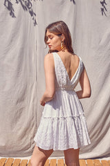 Burnout White Tiered Dress